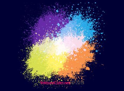 Renkli Sprey ve Fırça Lekeleri
