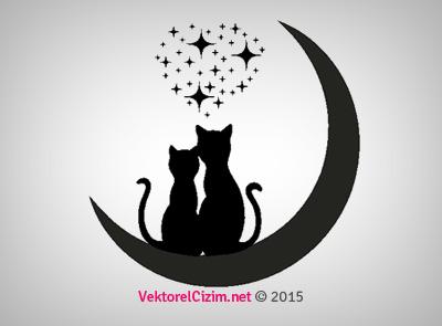 Kedi Silüetleri, Ay