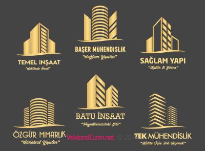 İnşaat, Mühendislik, Yapı, Mimarlık, Emlak Logo Şablonu